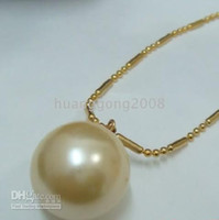Wholesale 16mm South Sea Pearl Pendant - 16mm south sea golden shell pearl pendant necklace +chain 14k