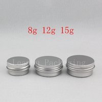 Wholesale Small Travel Jars - 8g 12g 15g small round empty balm aluminum pot Mini travel size metal cosmetic cream jar Sample skin care cream bottle container