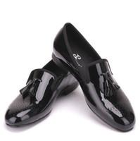 Wholesale Rivet Dress Plus Size - Black Patent Leather Men Dress Shoes with Tassel Plus Size Men Loafers Party and Wedding Men Flats US Size 6.5-11