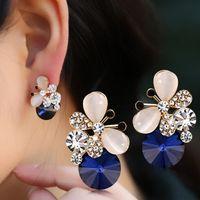 Wholesale Buy Silver Plate - Hot Buy New Design High Quality Elegant Silver Plated Blue Opal Crystal Earrings Lovely Rhinestone Butterfly Earring oorbellen