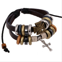 Wholesale leather jewelry findings resale online - 2pcs Vintage Cross Bracelet for Christmas Sets Boys Jewelry Finding Cross Bracelets Girls Women Black Brown Cross Bracelets Leather Band