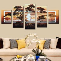 Wholesale Sunrise Painted Walls - 5 Pcs Set No Framed 100% Hand Painted Modern Fashion Tree Sunrise African Landscape Wall Decor Poster Pictures Canvas Paintings