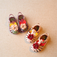 Wholesale Spotted Baby Shoes - 2017 Mini Melissa Prince flower Sandals Baby Girl Spot Shoes 11.8-20.8cm