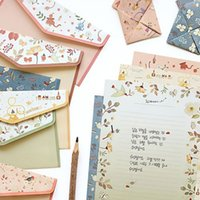 Wholesale- JWHCJ 6 set = (24 fogli di carta da lettere + 12 buste di pc) Finemente fiore animale Letter pad Set / set di carta da lettere OfficeSchool Supplie