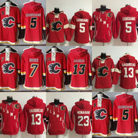 Wholesale Hot Johnny - Hot Sale Mens Womens Kids Calgary Flames 5 Mark Giordano 7 TJ Brodie 13 Johnny Gaudreau 23 Sean Monahan Red Best Quality Ice Hockey Hoodies