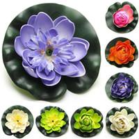 Wholesale Best Artificial Plants - Best selling 8pcs Foam Water Lily Flower Decor Artificial Floating Pond Plants Multicolor