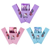 Wholesale Make Up Beauty Case - High Quality Hello Kitty Makeup Brushes Set + Mirror Case eyeshadow tech blush Brush Kit Pink Make up Toiletry Beauty Appliances 8pcs set