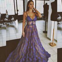 Wholesale Custom Designers For Prom Dresses - 2017 Sexy V-neck Lace Prom Dresses Spaghetti Straps Vestido De Festa See Through Long Dress For Graduation Gala Evening Dress