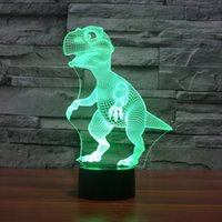 3D Lamp Dinosaur Animal Style Led 3D Touch Switch Optical Illusion Table de bureau Lampe de chevet avec 7 couleurs Changer la fête de Noël Night