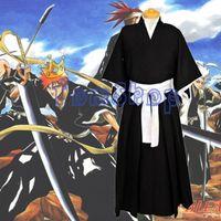 Wholesale Bleach Shinigami Kimono - Japanese Anime BLEACH Kurosaki Ichigo Cosplay Shinigami Death Kimono Soul Reaper Halloween Costumes