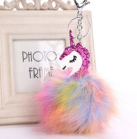 Wholesale Rainbow Plush - rainbow color Fur Unicorn Pendant Bag Charms Handbag Accessory Bag Charms Handbag Accessory Cute Horse Fur Keychain free ship