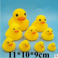 Wholesale swiming baby - Baby Bath Water Duck Toy Sounds Mini Yellow Ducks Bath Small Duck Toy Children Swiming Beach Gifts 11*10*9cm CCA5889 300pcs