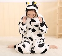 Wholesale Cow Costumes For Sale - free shipping black and white milk cow animal onesie pajamas cosplay costume for adult to wear for sale