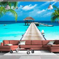 Wholesale Wooden Bedroom Classic - custom photo mural landscape 3D TV background wall Maldives sea wooden Palm tree landscape background wall painting wallpaper