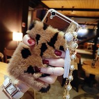 Wholesale grey pearl pendant - for iPhone 5S 6 6s 7 8 plus X Korea Luxury Diamond Pearl Tassel Puff Furry Rabbit Bracelet chain pendant soft mirror case