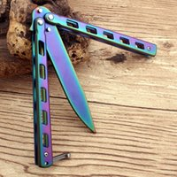 Wholesale Edge Training Knives - Stainless Steel Colourful butterfly Training Knife folding knife Never Fade butterfly balisong knife Trainer safe no edge dull