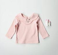 Wholesale T Shirt Printing Korea - 2017 Korea Ins style Girls Kids Long Sleeve pet pan collar cat print all match t shirt baby kid 100% cotton comfortable t shirt 80-120cm