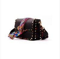 Wholesale Stud Bag Leather - Wholesale-2016 New genuine leather rock color stud handbags women fashion color rivets shoulder bags easy matching for valentines