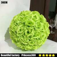 """Wholesale Encryption Rose Ball Wedding Decoration - 30CM 12"""" Romantic Artificial Encryption Rose Silk Flower Hanging Ball Kissing Balls For Christmas Ornaments Wedding Party Decoration 99029-7"""