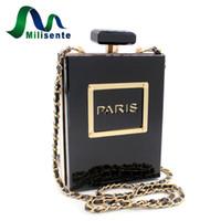Wholesale Perfumes Paris - Wholesale- Milisente Brand Women Crossbody Bags Perfume Bottle Messenger Handbag Black Paris Acrylic Mini Shoulder Bag Clutch Party Purse