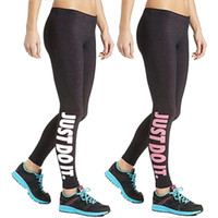 "Wholesale Leggings Knit - Women Sport Sex Yoga Leggings "" Just Do It "" Leggins Elastic Tight fitting Pants Slim Fitness Pencil Fashion Trousers LWDK12 WR"