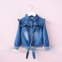 Wholesale Denim Top Boy - Everweekend Girls Agaric Laces Denim Tees Cute Baby Turn-down Collar Tops Sweet Children Button Fall Clothing