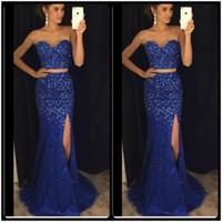 Wholesale Gala Prom Dresses - Sparking Crystals Two Piece Prom Dresses 2017 Vestidos De Gala Side Split Royal Blue Elegant Long Evening Dresses Party Gowns