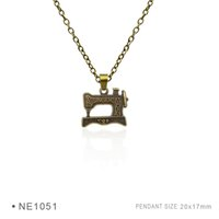 Wholesale Sewing Machine Silver Charms - Sewing Machine Needle Brooch Woolen Fashion Silver Pendant Necklaces Charms Plated Collar Body Chain Gift for Women Girls Boys Jewelry