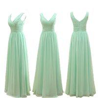 Wholesale Mint Green V Neck - Cheap Mint Green Chiffon A Line Sweetheart Pleated Bridesmaid Dresses Long 2017 Cheap Bridesmaid Dresses Under 50
