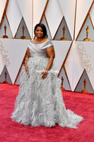 Wholesale Annual Academy - 89th Annual Academy Awards Octavia Spencer Oscar 2017 Red Carpet Dresses Off Shoulder Plus Size Silver Color Stain Feather Celebrity Dresses