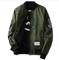 Wholesale Japanese Mens Jackets - Bomber Jacket Men Pilot with Patches Green Both Side Wear hip hop kanye west Thin Pilot Wind Breaker japanese bomber mens jackets and coats