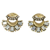 Wholesale Vintage Jewelry India - Vintage Jewelry Boho Earrings From India Luxury Antique Gold-Color with Rhinestone Flower Cute Stud Earrings for Women