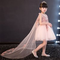 Wholesale Trailing Flowers - Glizt Appliques Tulle Flower Girl Dress Long Trailing Princess Ball Gown Party Wedding Dress First Communion Dresses for Girl