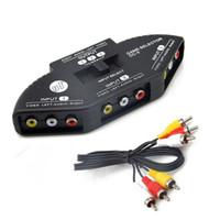 av kabel für xbox großhandel-Audio Video AV RCA Schalter Splitter Selector 3 zu 1 RCA Composite AV Kabel für STB TV DVD Player für XBOX PS2