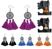 Rhinestone Vintage Flower Alloy Tassel Boucles d'oreilles Drop Dangle Boucles d'oreilles 5 couleurs Elegant Ear Drop Jewelry Gift For Women B747L