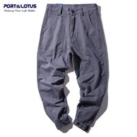 Wholesale Fly Port - Wholesale- PORT&LOTUS Brand Jeans Men Solid Harem Pants 100% Cotton Mens Haren Jeans Full Length Men's Clothing YP009 5087