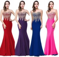 Wholesale Br Wedding - 2017 free shipping cheap elegant Jewel Sleeveless floor-length evening dresses Mermaid Lace Applique Prom Dresses beach wedding guest Br