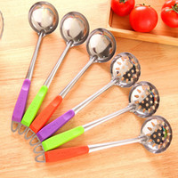 Wholesale Stainless Steel Colander Handle - Wholesale- Colorful handle stainless steel spoon stirring kitchen soup can be hanging colander pot spoon kitchen accessories cooking tools