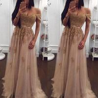 vestido de novia de baile champán al por mayor-Champagne Lace Beaded Off the Shoulder Vestidos de noche árabes Cariño Una línea de tul Vestido de fiesta Vestido de fiesta de baile de fiesta formal barato de la vendimia