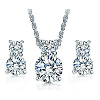 Wholesale Earrings Kitty Cat - 18K White Gold Plated AAA+ Clear Cubic Zirconia CZ Cute Kitty Cat Stud Earrings Chain Necklace Jewelry Sets for Women Girls