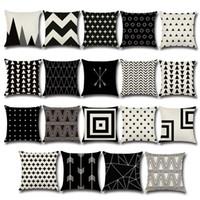 Wholesale Wholesale Geometric Pillow Cushion - Wholesale Geometric Pattern Cushion Covers Soft Linen Pillow Cases Creative Colorful Cover Decorative Pillows 45*45cm