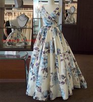 Wholesale Evening Dresses Factory Sale - Direct Factory Sale 2017 Sexy V Neck Floral Printed Formal Gown Custom made V Back Ball Gown Sweep Train Evening Dress HB18