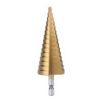 cortador de furos de cone venda por atacado-Hex titânio passo cone broca buraco cortador 4-32mm hss 4241 para ferramenta de chapa metálica