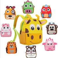 Backpacks Children's bags Unisex 10 Style Children 3D Cute Animal Design Backpack Toddler Kid Neoprene School Bags Kindergarten Cartoon Comfortable Bag Giraffe Monkey Owl