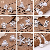 Wholesale earring pearls - 62pairs Lot, 45 styles Korean Creative Fashion diamond earrings New Pearl Stud Earrings Hot selling accessories jewelry wholesale earrings