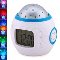 Wholesale Led Projector Clock Night Lamp - Wholesale- Music Starry Star Sky Digital Led Night Light Projector Lamp Alarm Clock Backlight Time Calendar Thermometer Led Night Lamp