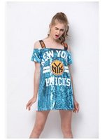 Wholesale Shirts Bling For Women - 2017 Off Shoulder Bling Sequined Women T-shirt Letter Printed Hip Hop Street T Shirt Mini Dress Tee Tops For Stage Dance Club Party