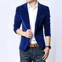 männer s blazer marineblau großhandel-2017 neue Mode Gute qualität männer Slim Fit Blazer Jacke Männlichen Anzug schwarz navy blue samt Frühling Herbst mantel