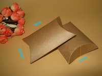 Wholesale Earing Boxes - Wholesale-100pcs lot kraft pillow box 9x6.5x2.4cm Jewelry kraft Paper Gift Packaging  Ring Earing boxes wedding favor party candy gift box