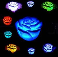 Wholesale Led Rose Floating Candles - New Romantic Changing LED Floating Rose Flower Candle Night Light Wedding Party Decoration 600pcs lot CCA7500 1000pcs